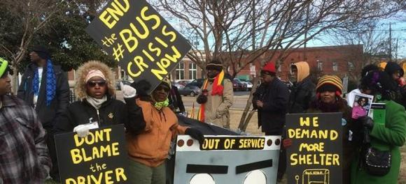 Memphis bus riders protest potential service cuts. Photo: Memphis Bus Riders' Union