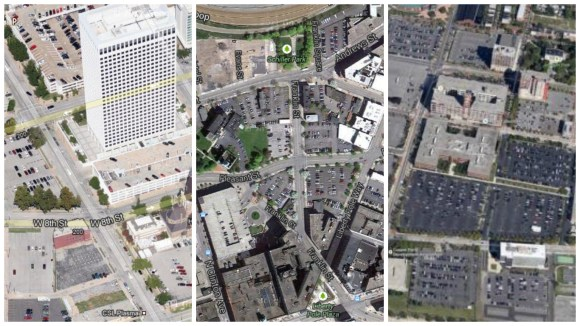 "Past ""Parking Madness"" winners Tulsa (left), Rochester (center) and Camden (right)."