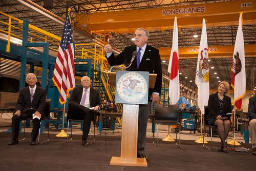 Former U.S. Secretary Ray LaHood at the Nippon Sharyo plant near Chicago, when the contract was awarded in 2012. Photo: U.S. DOT