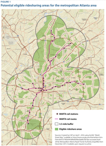 Is it smart of transit agencies to use Uber subsidies to expand their service areas? Map of Atlanta's MARTA plus a three-and-half mile buffer via CAP