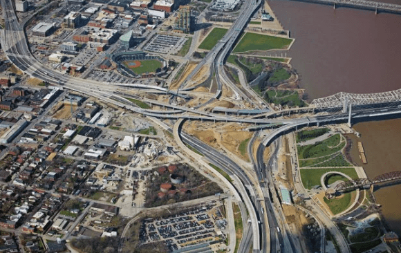 """Louisville's new """"Ohio River Bridges"""" Interchange, right between downtown and the waterfront. Photo: Ohio River Bridges project"""