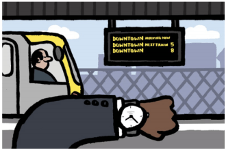 Transit riders are more conscious of time than they are of features like wifi. Drawing via Transit Center