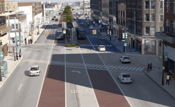 A rendering of what Gratiot Avenue would look like with bus rapid transit. Image: Michigan RTA via Curbed