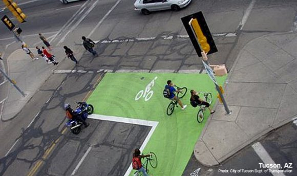 Bike boxes are going to become part of the standard street design guidance. Photo: NACTO