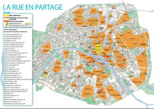 Paris has enacted slow zones over much of the city in recent years. Image: retrieved from World Streets