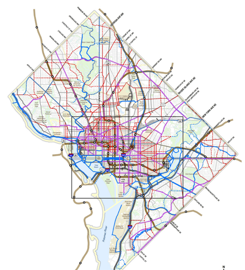 Washington, D.C.'s new moveDC transportation plan would add protected bike lanes in very part of the city. Image: DDOT via GGwash