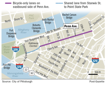Penn Avenue is getting protected bike lanes. Image: Post Gazette