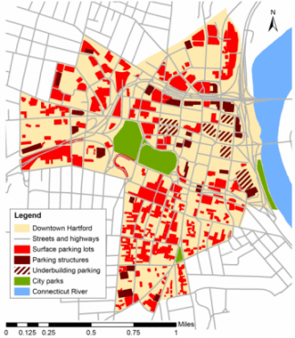 Downtown parking in Hartford, Connecticut, circa 2000. Image: Urban Compass