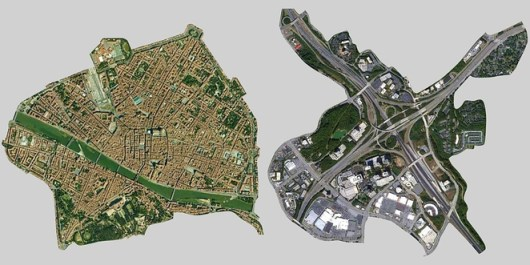 This is the city of Florence, Italy, and an Atlanta interchange at the same scale. Image: Steve Mouzon via Treehugger