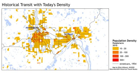 In the Twin Cities, population density still closely tracks history streetcar routes. Image: retrieved via Streets.mn