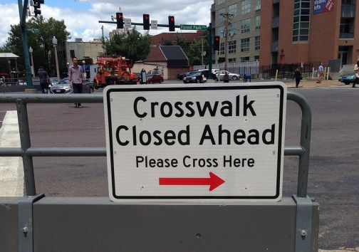 A busy crosswalk has been closed in St. Louis. Photo: NextSTL