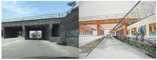 These proposed changes to a bridge are meant to help restore a gap in the city's fabric. Image: Michigan Municipal League