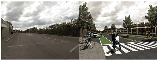 This intersection redesign would incorporate bump-out parking, bike lanes, crosswalk, landscape improvements, and sidewalk bordering techniques to make it more comfortable for pedestrians. Image: Economics of Place