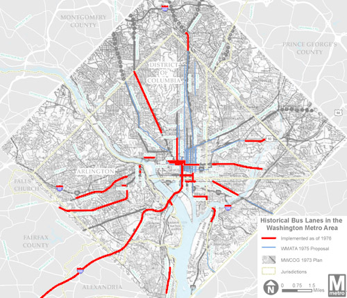 Washington D.C. used to have 60 miles of dedicated bus lanes. Lines shown in red show 1976 bus lanes. Image: Beyond DC via Metro