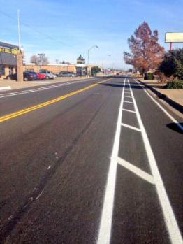NW 39th Street after the addition of a buffered bike lane. Photo: BikeOKC