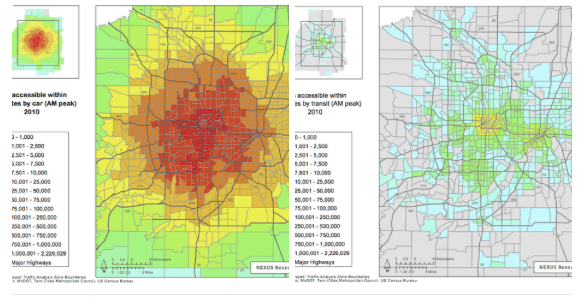 The map on the left shows the number of destinations available in the Minneapolis region in 20 minutes by car. The map on the right shows the same data but by 20-minute transit trip. Image: Streets.mn