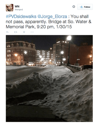 An image of an unshoveled sidewalk in Providence. Via WNPVD on Twitter