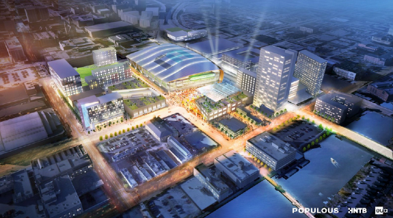 Rendering of proposed Milwaukee Bucks arena. Image via Urban Milwaukee