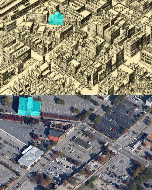 Top: The area around what is now the Garnett MARTA station in 1913. Bottom: The same area today. Images via ATL Urbanist