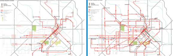 Houston's bus system before, on the left and after a complete system redesign on the right.