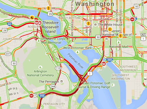 Traffic map following Thursday's DC Metro derailment. Image: Google Maps via Greater Greater Washington