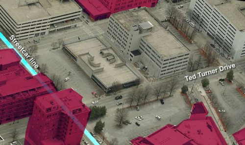 Parking blight, not shaded, along the downtown Atlanta streetcar line. Image: ATL Urbanist
