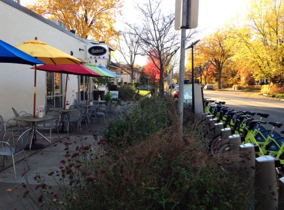 One of the more successful stations in MInneapolis' Nice Ride system is parked right in front of the Birchwood Cafe. Photo: Bill Lindeke