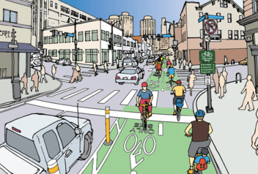 A vision for a safer Forbes Avenue has been advanced following the death of Susan Hicks near the University of Pittsburgh. Image: Bike PGH