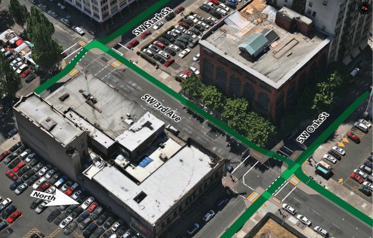 How a protected intersection could fit into the Portland streetscape. Image: Nick Falbo via Bike Portland