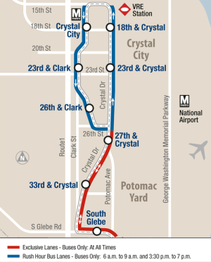 This map shows the new Crystal City bus rapid transit line opening this month in Arlington, Virginia