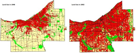 Cuyahoga County has sprawled outward even as its population has declined or stagnated. Maps: Cuyahoga County Planning Commission