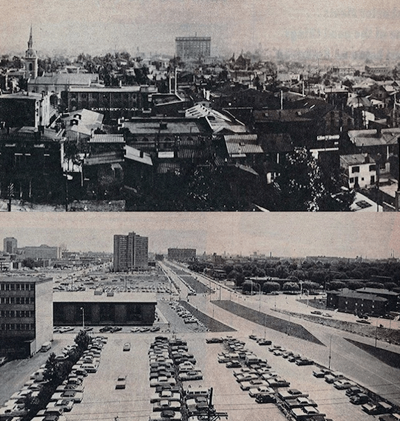 A view looking south from the Glassworks building before urban renewal circa 1926 and the same view after clearance in 1976. HIstorical photos via Broken Sidewalk