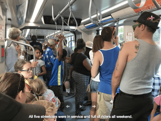 Cincinnati's new streetcar, the Cincinnati Bell Connector, was running packed it's opening weekend. Photo: UrbanCincy
