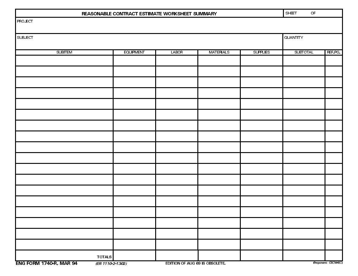 Hvac Bid Worksheet