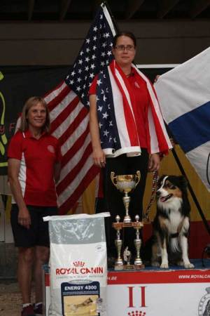 Rosanne and Strafe, 2nd Place Individiual Finals, with Coach Nancy Gyes
