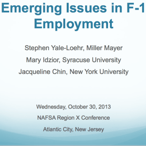 Emerging Issues in F-1 Employment