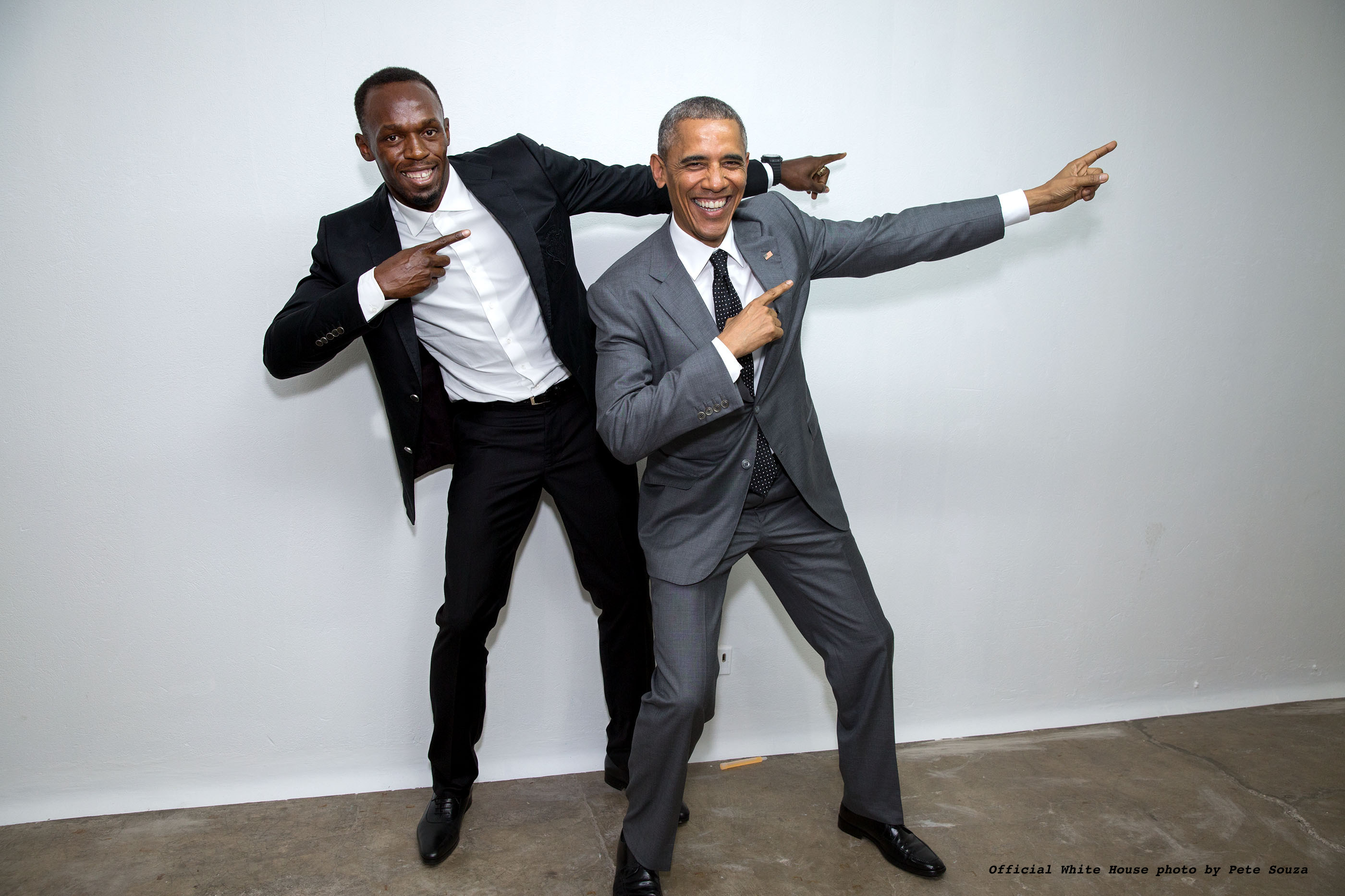 POTUS strikes a pose with Usain Bolt. April, 2015.