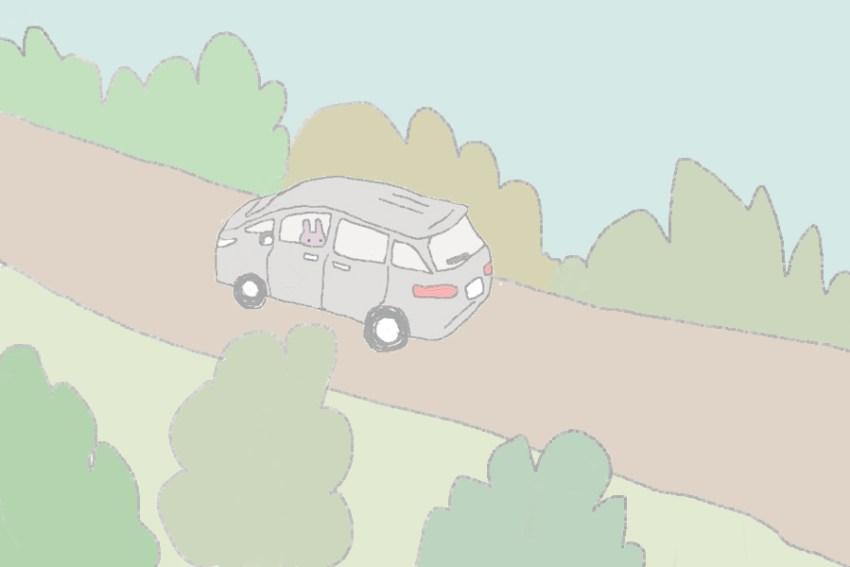 5コマ目。 車は峠を走ります。