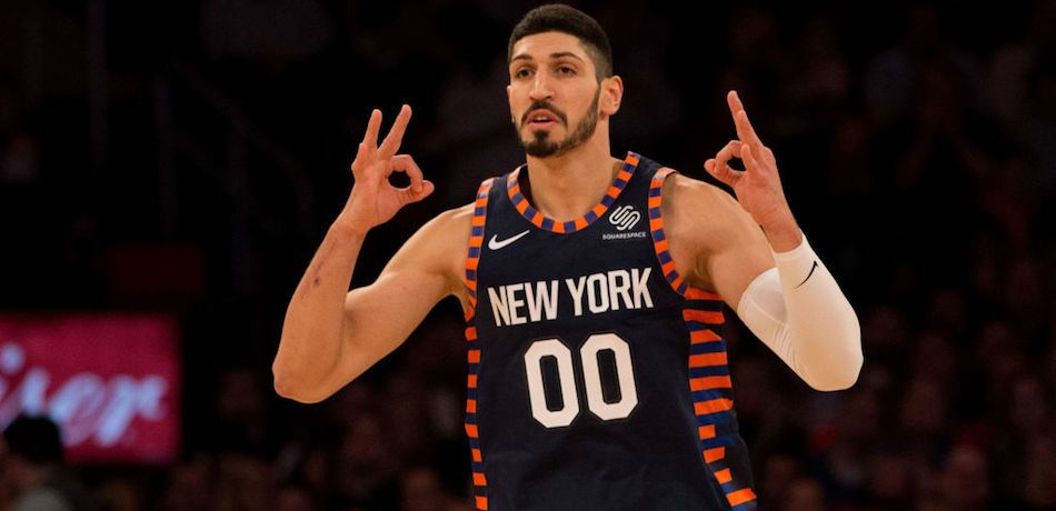 Enes Kanter #00 of the New York Knicks celebrates after hitting a three-point basket against the Milwaukee Bucks at Madison Square Garden on December 25, 2018 in New York City.