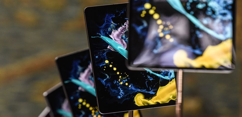 The new iPad Pro on display during an Apple launch event.