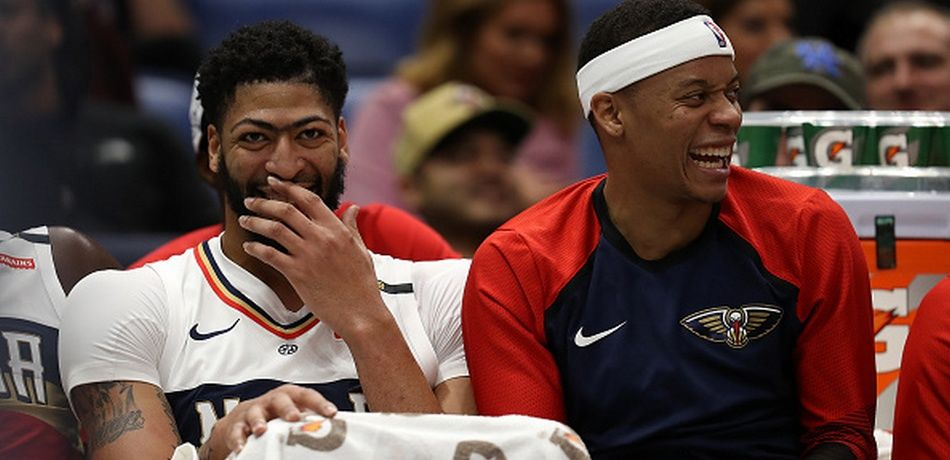 Anthony Davis #23 of the New Orleans Pelicans looks on during the game against the Cleveland Cavaliers