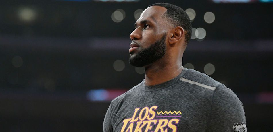LeBron James warms up prior to a game between the Los Angeles Lakers and Denver Nuggets at the Staples Center.