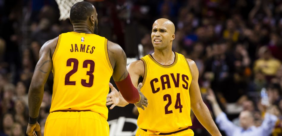 LeBron James #23 of the Cleveland Cavaliers and Richard Jefferson #24 celebrate after a play during the first half against the Washington Wizards at Quicken Loans Arena on March 25, 2017 in Cleveland, Ohio.