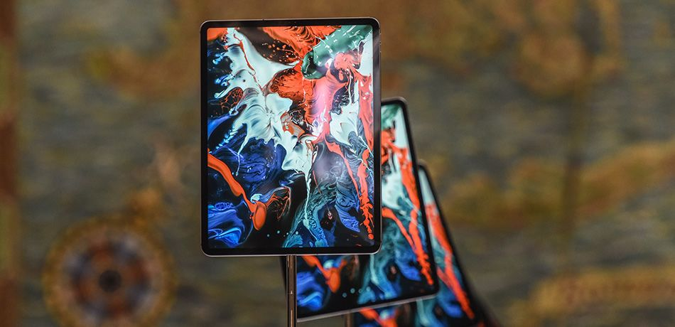 The new iPad Pro is put on display during an Apple launch event at One Hanson Place on October 30, 2018 in the Brooklyn borough of New York City