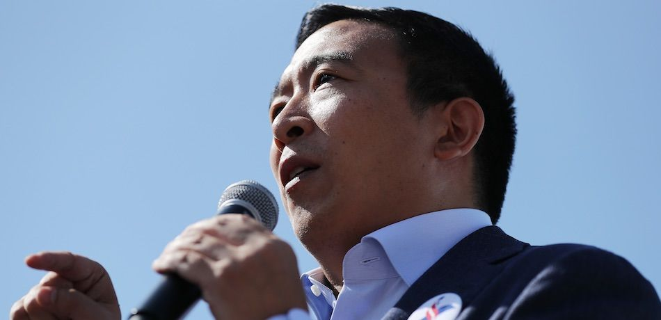 Democratic presidential candidate Andrew Yang delivers a 20-minute campaign speech at the Des Moines Register Political Soapbox at the Iowa State Fair August 09, 2019 in Des Moines, Iowa.