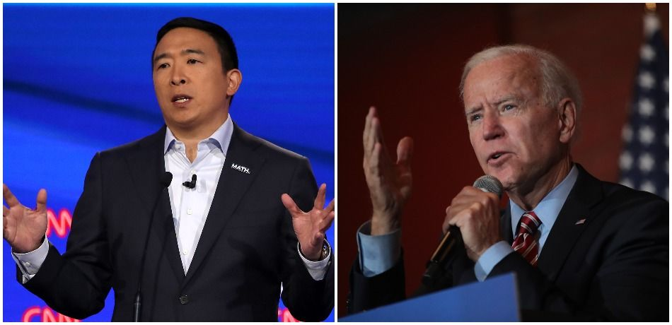 Democratic presidential candidates Andrew Yang and Joe Biden.