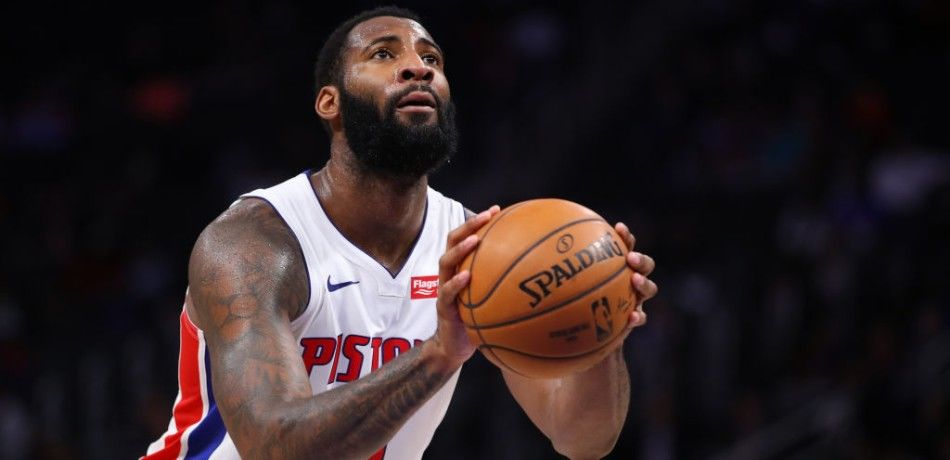 Andre Drummond of the Detroit Pistons attempts a free throw.