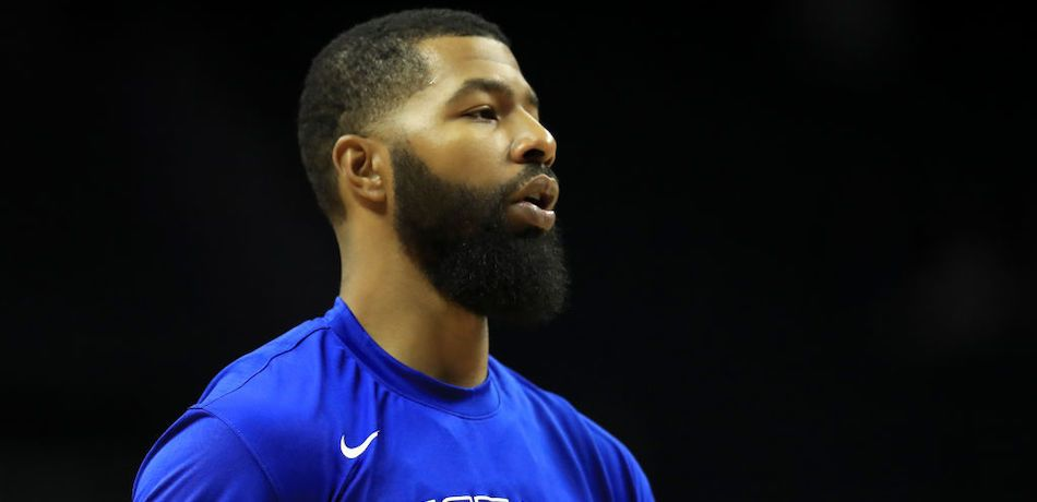 Markieff Morris of the Detroit Pistons looks on during a pregame warmup.