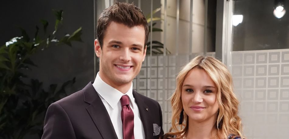Michael Mealor (Kyle Abbott) and Hunter King (Summer Newman) on the new Dark Horse office set at Y&R.