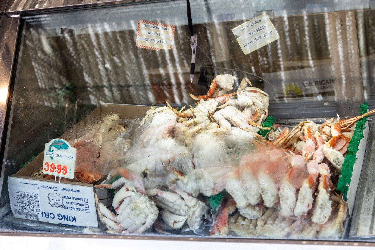 Crabs for sale at Anastasi's Seafood on Christmas Eve at the Italian Market.